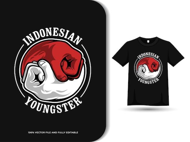T 셔츠 디자인 템플릿과 음과 양 주먹 빨간색과 흰색 인도네시아 젊은이