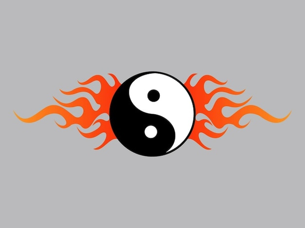 Yin yang graphic with flames