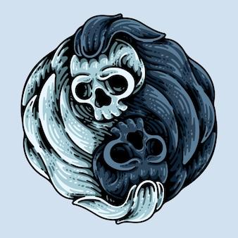青で分離された陰陽頭蓋骨の頭のキャラクター
