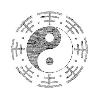 陰陽シンボル手描きヴィンテージ