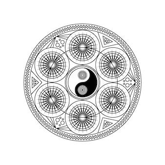 동부 기하학적 패턴 원 흰색 배경 벡터 일러스트 레이 션에 고립에서 음과 양 기호. 요가 또는 명상 개념을 위한 전통적인 만다라 기호