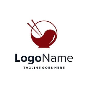 젓가락과 그릇이 있는 음양 단순한 창의적 기하학적 세련된 현대적인 로고 디자인