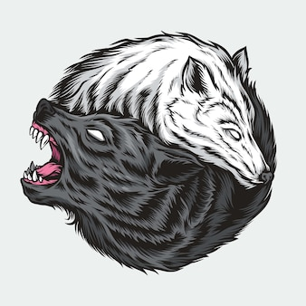 Yin yang wolf illustration