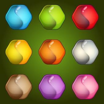 Цвета значка шестиугольника символа yinyang установить глянцевый и яркий стиль.