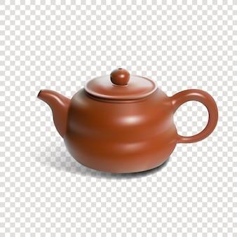 宜興中国茶道現実的なケトルsolated