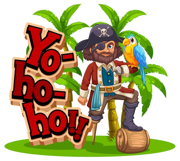 Баннер шрифта йо хо хо с мультипликационным персонажем пиратский человек