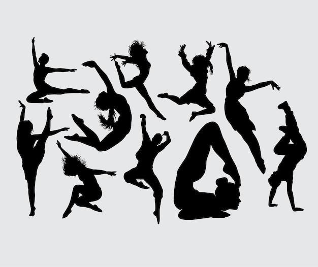ヨガアクロバットとダンス男性と女性のシルエット