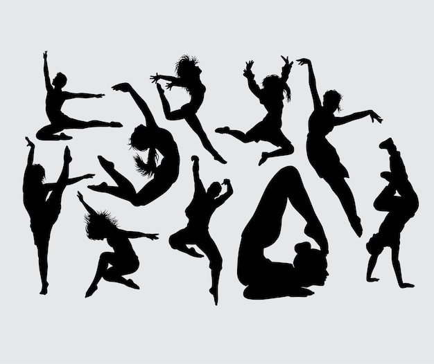 Yoga acrobat and dance male and female silhouette