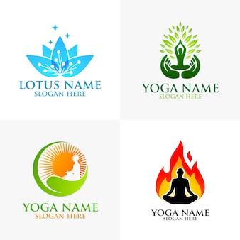 Йога и логотип цветок лотоса с концепцией оздоровительного спа и человеческим силуэтом