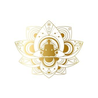 ヨガと瞑想のラベルデザイン、ゴールデンロータスポーズテンプレートの女性のシルエット。ビューティーサロンまたはリラクゼーションスパセンターのエンブレムまたはブランド要素のベクトル図