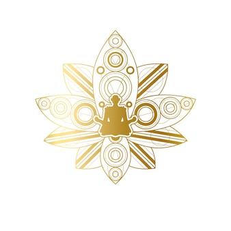 Дизайн этикетки йоги и медитации, женский силуэт в шаблоне позы золотого лотоса. салон красоты или спа-центр релаксации эмблема или брендинг элемент векторные иллюстрации