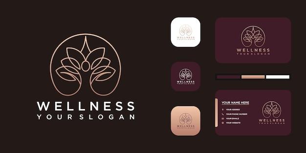 創造的なラインアートとヨガとウェルネスのロゴ。