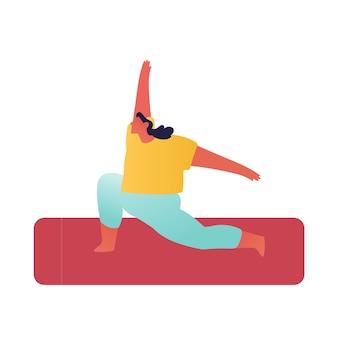 Асана йоги. молодая спортивная женщина толстая фигура носить спортивную одежду.