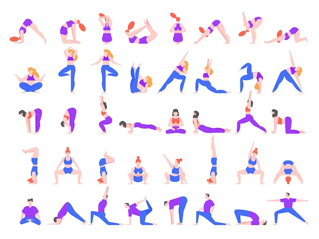 Yoga asanas. practice in yoga poses, young people train balance, meditate and relax at yoga class illustration. people characters practicing pilates, doing sports isolated on white background