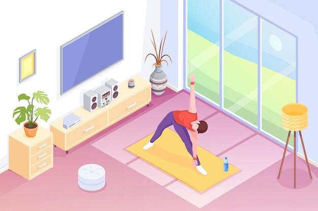 집에서 요가, 방에서 운동을하는 사람, 아이소 메트릭. 요가 스포츠 및 스트레칭 운동 또는 방에서 아침 운동, 요가 남자는 매트, 홈 피트니스 및 건강 활동에 포즈