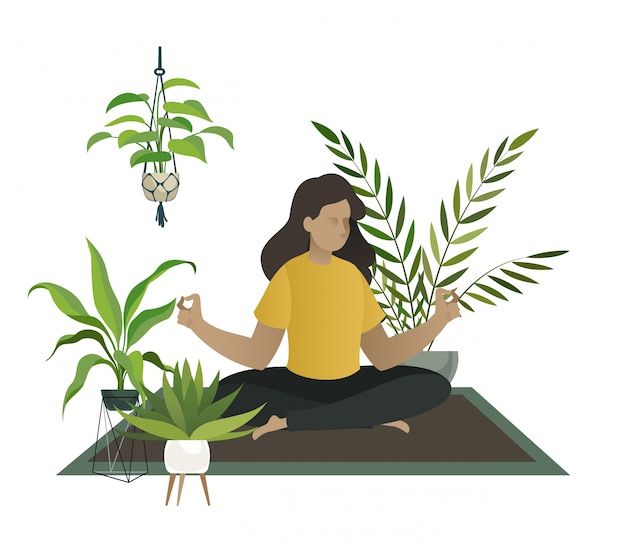 Йога дома. медитация молодой женщины или мамы счастливы отдохнуть в домашнем саду джунглях номер теплицы концепции