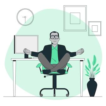 Йога в офисе иллюстрации концепции