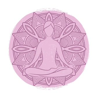Yoga balance female silhouette. flower mandala and meditation woman asana