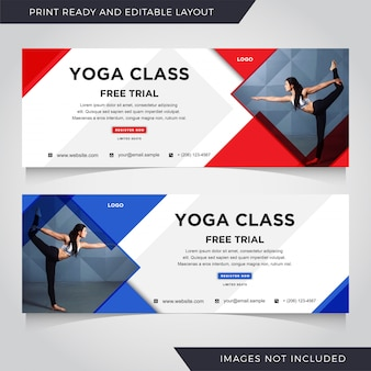Yoga banner template set.