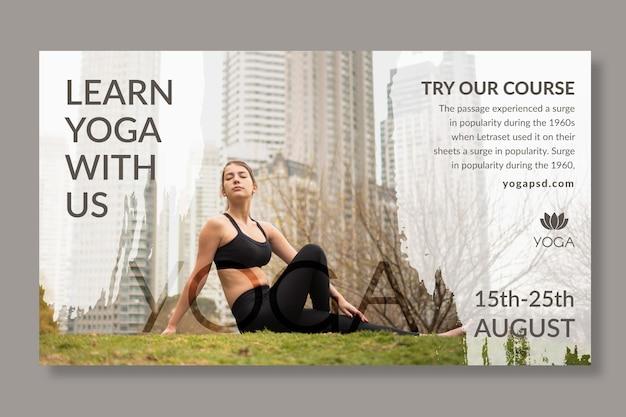 Modello di banner yoga con foto