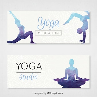 Yoga banners set with watercolor silhouettes