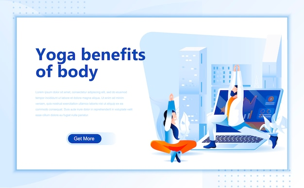 Yoga benefits of body flat landing page template of homepage