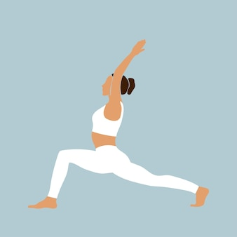 ヨガの体の若い女の子のシルエットスポーツポーズアイコン