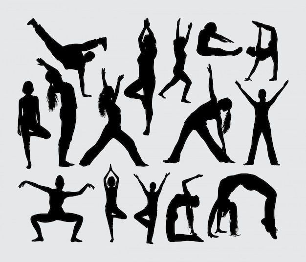 Yoga breakdance and stretching sport silhouette