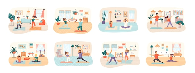 Yoga bundle of scenes with flat people characters situation