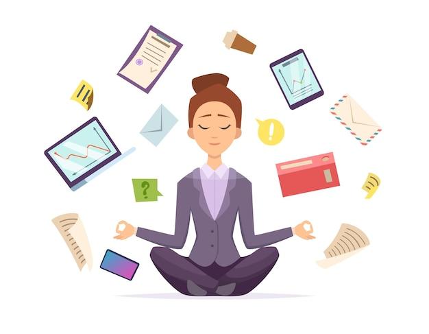 ヨガビジネス。蓮の瞑想のポーズで座っている女性キャラクターは、ベクトル漫画イラストの周りを飛んでオフィスビジネスアイテムをリラックスします。ヨガオフィス瞑想、ビジネスリラックス座って、蓮華座をポーズ