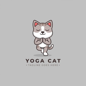 Yoga cat cartoon logo