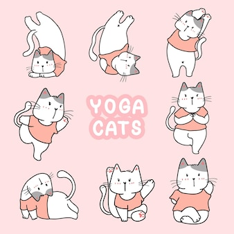 Yoga cat in different pose collection cartoon doodle drawing stlye