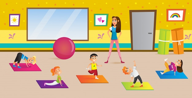 Yoga center for development children cartoon.