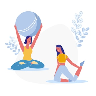 Yoga class, fitness exercise vector illustration