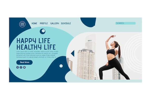 Modello di home page del corso di yoga con foto