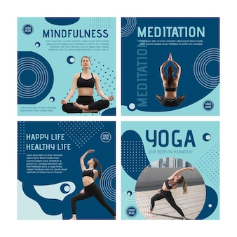 Yoga class instagram posts template with photo