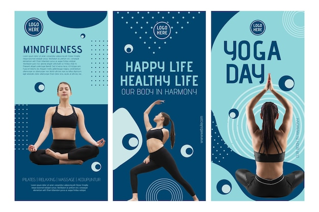 Yoga class instagram stories template with photo Premium Vector