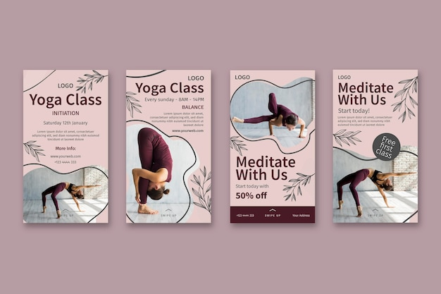 Yoga class instagram stories template