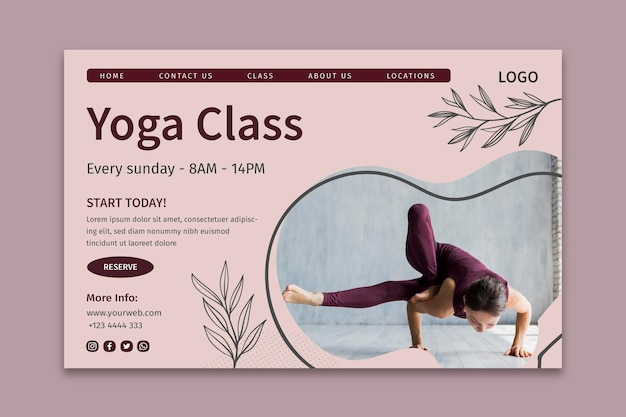 Yoga class landing page template