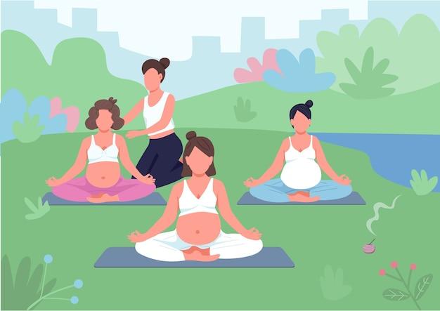 ヨガクラス屋外フラットカラー。公園でコーチと瞑想。リラクゼーションのための出生前トレーニング。背景に風景と妊娠中の女性の2d漫画のキャラクター
