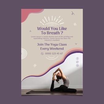 Modello di poster di lezione di yoga