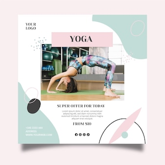 Yoga class square flyer template