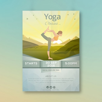 Yoga classes cartoon poster design