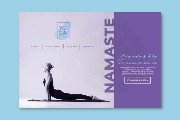 Yoga classes landing page template