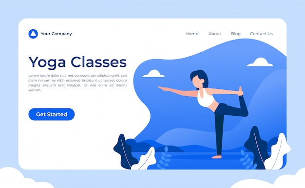 Yoga classes landing page