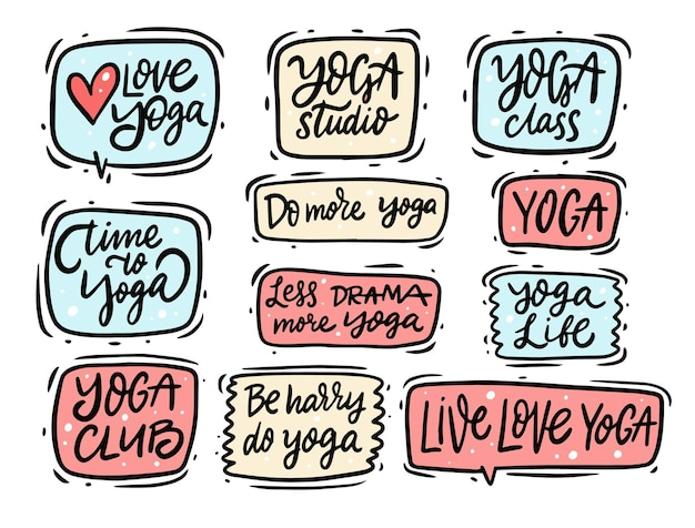 Yoga colorful text set