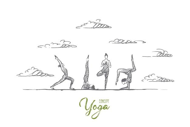 요가 개념. 손으로 그린 요가 연습 운동 클래스. 요가 야외 격리 된 그림을 연습하는 사람들.