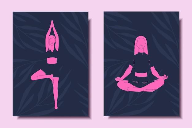 ヨガをしている女の子とポスターのヨガコンセプトセット