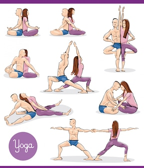 Yoga in couple illustration set