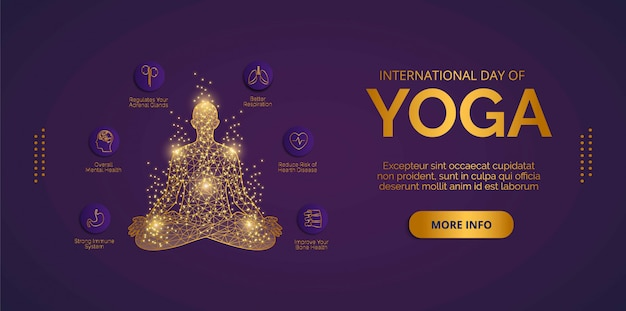 День йоги 21 июня вектор. дизайн векторов для баннеров, фонов, плакатов или открыток.